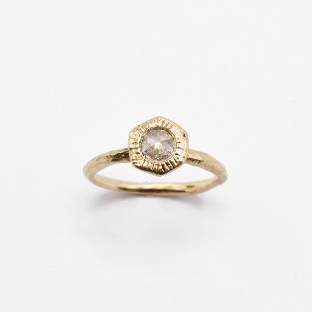 Large Hex Ring - 10k Yellow Gold and White Diamond - READY TO SHIP