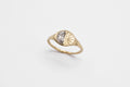 Half moon, half sun ring - 14k gold with salt & pepper diamond - READY TO SHIP
