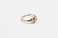 Half moon, half sun ring - 14k gold with salt & pepper diamond