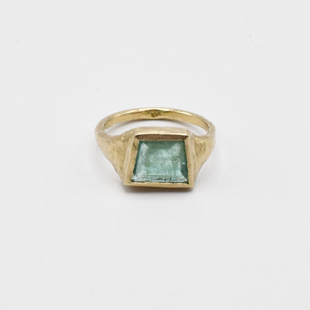 Geometric Emerald Signet Ring #2 - 10k gold - READY TO SHIP