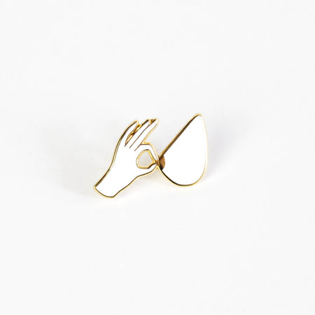 Pinch Pin - white & gold