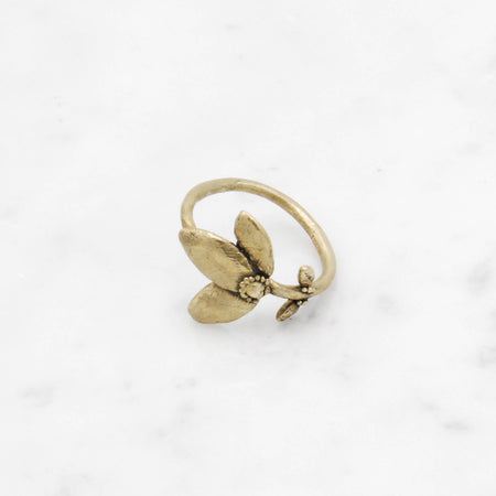 Custom Petite Flower Stem ring for Nick, 10k Rose gold, size 5