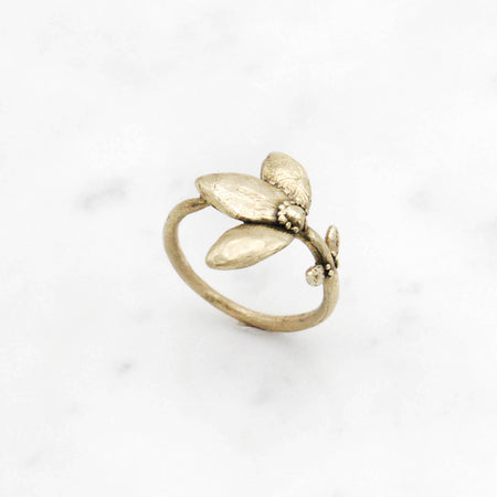 Flower Stem ring - brass