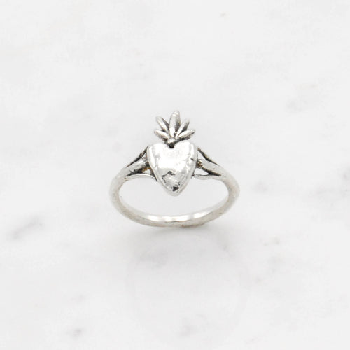 Burning Heart ring - silver
