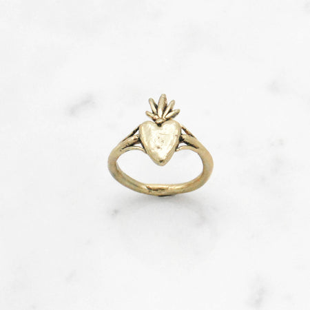 Burning Heart ring - brass