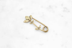 Flower Stem Safety Pin - brass