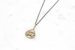 Cat Cameo necklace - brass