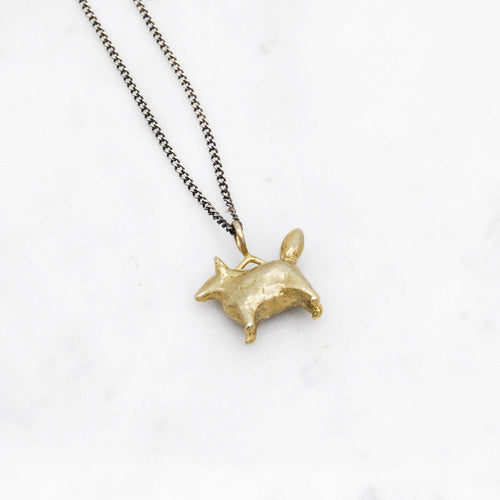 Dog Amulet necklace - brass
