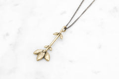Flower Stem necklace - brass on silver