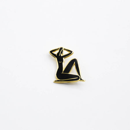 Seated Nude Pin - Gold & Black