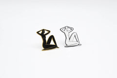 Seated Nude Pin - Black & White
