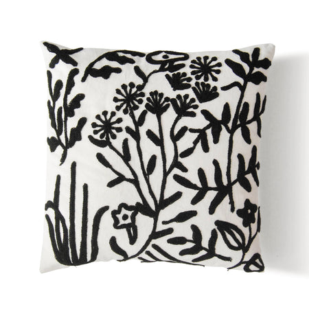 Millefleur Embroidered Pillow Case - B&W