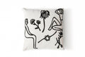 Flash Embroidered Pillow Case - B&W