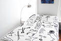 Flash Embroidered Bedspread - B&W