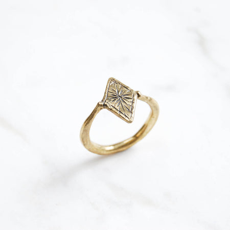 Starry diamond ring - brass sz 5.5 for Lily