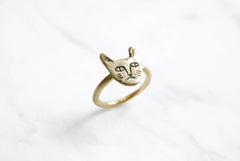 Cat face ring - brass
