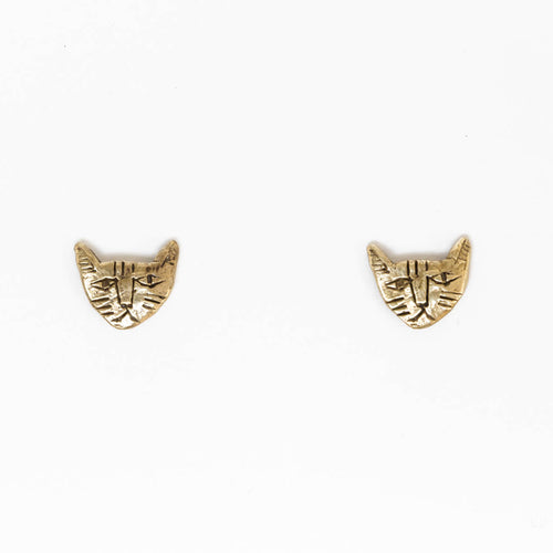 Tiny cat earrings - brass