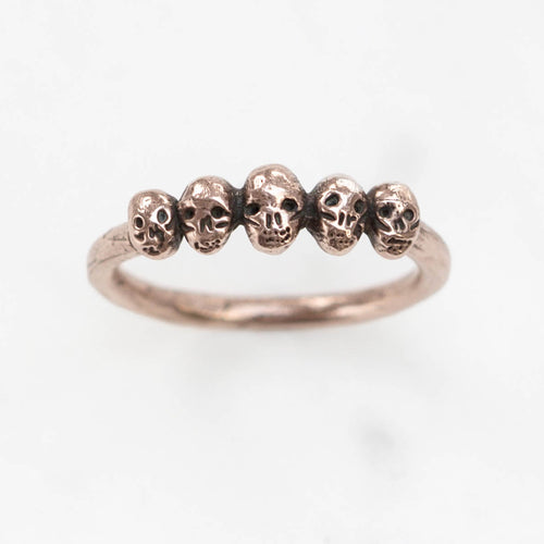 Tiny skulls ring -  rose / yellow / white gold