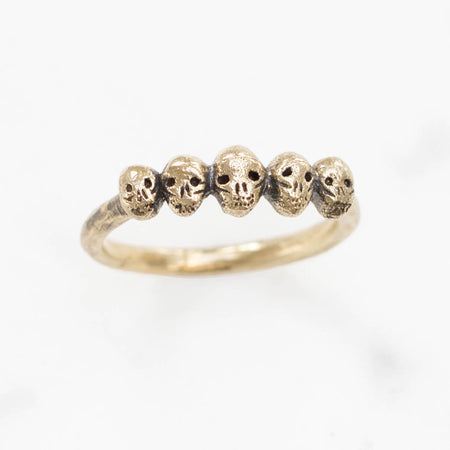 Tiny skulls ring- brass
