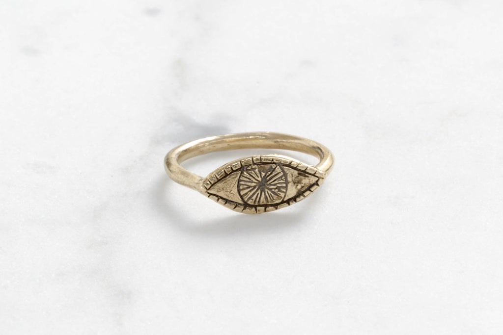 Watchful eye ring - brass