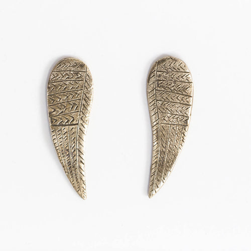 Wing earrings - brass