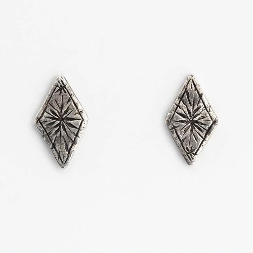 Starry diamond earrings - silver