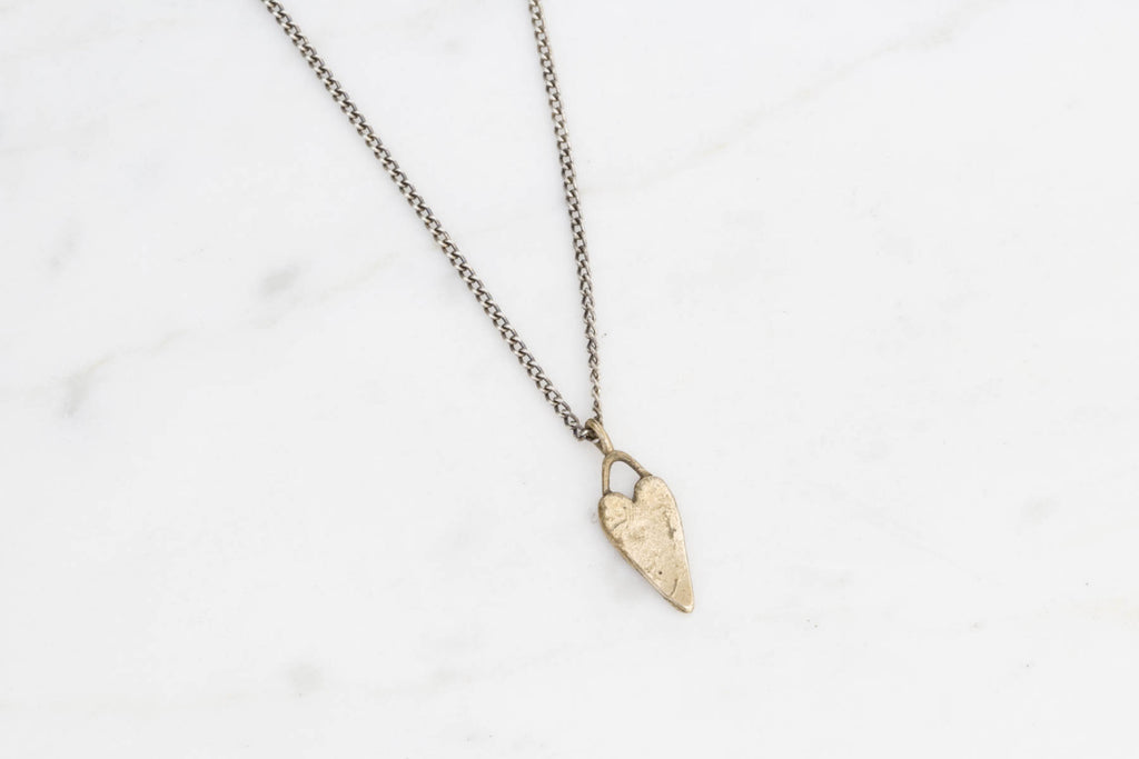 Heart necklace - brass on silver