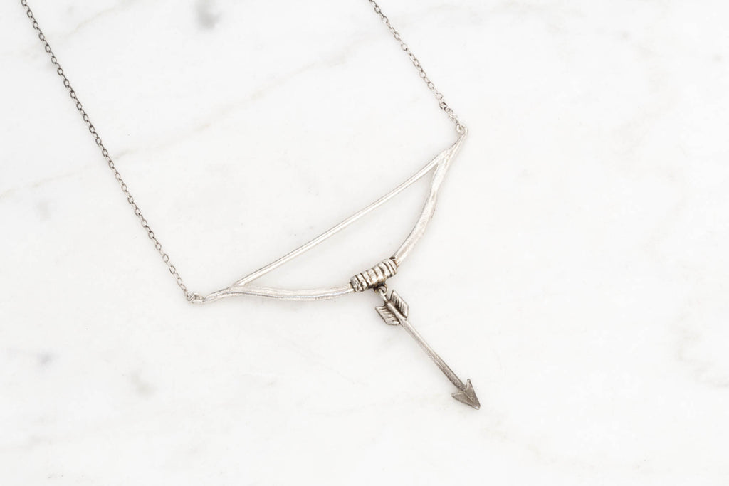 Bow and arrow necklace - silver