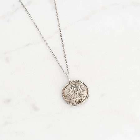 Saint Jude medallion necklace - silver