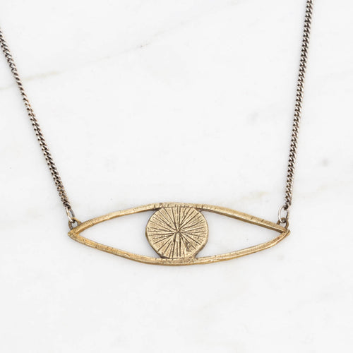 Eye talisman necklace - brass on silver