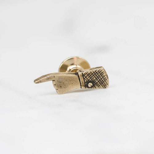 Pointing hand lapel pin - brass