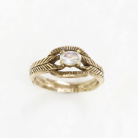 Moonstone deco ring - 10k gold