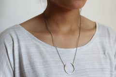 Upturned crescent necklace -  silver