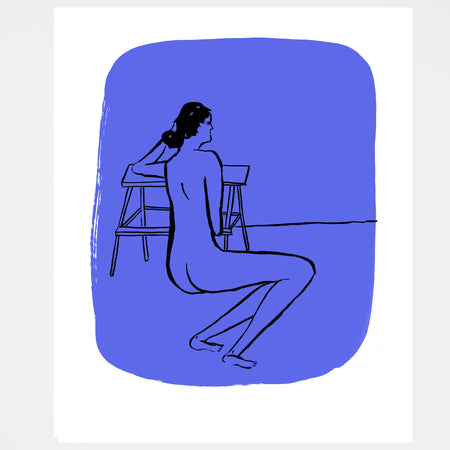 Nude on Blue Screen Print