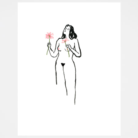 Nude with Flowers Screen Print