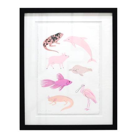 Pink Animals - Original Drawing