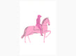 Pink Knight on Horseback - Original Drawing
