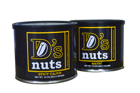 D's nuts Gourmet CRAZY HOT Spicy Cajun AND SALTED Virginia Style Peanuts