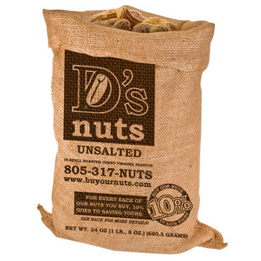 D's nuts 1.5 lbs. In Shell UNSALTED Gourmet Peanuts - Buy Our Nuts To Save Yours
