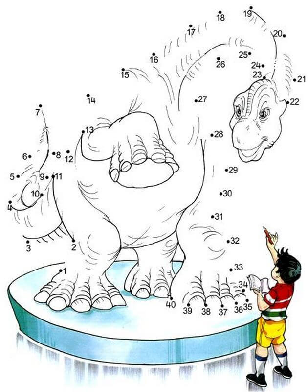 coloriage dinosaure point a relier