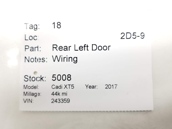 17-19 Cadillac XT5 Rear Left Door Wire Wiring 84012055 (Per 1) OEM Genuine
