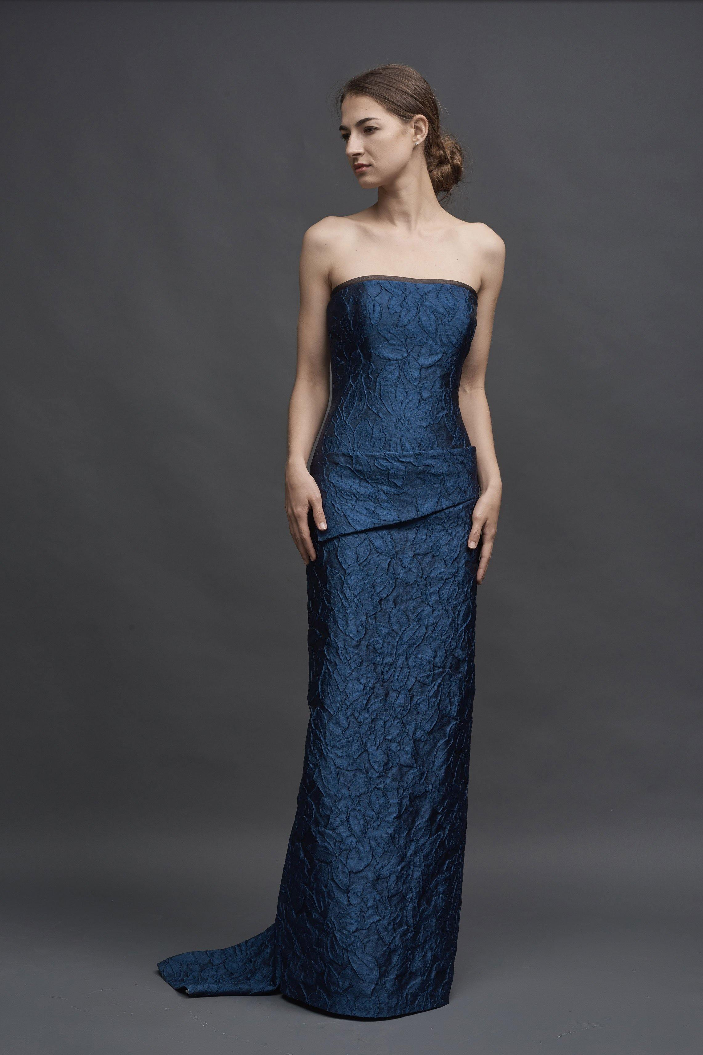 Cloquet Hand-Draped Slim, Strapless Gown, Fishtail Hem Detail - Mieka Boutique