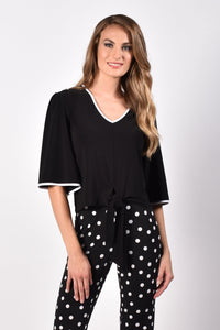 V-Neck Top with Contract Trim - Mieka Boutique