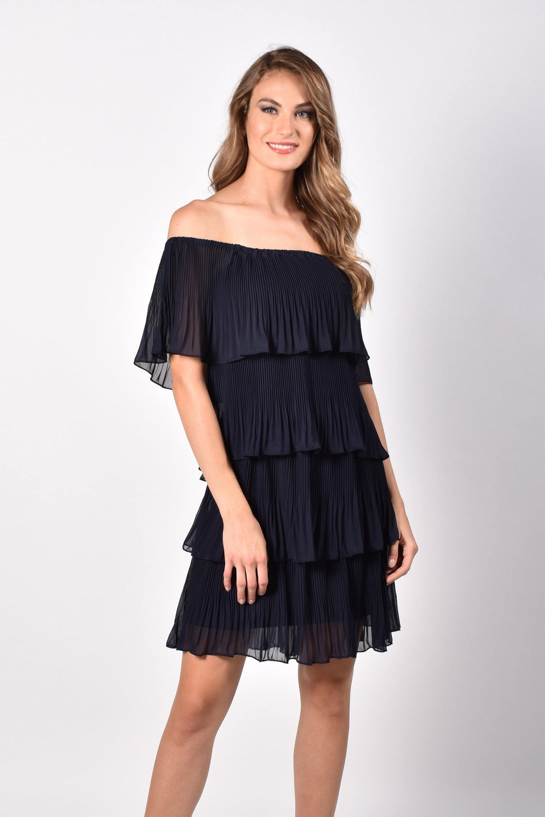 Off the Shoulder Short Dress with Pleated Layers