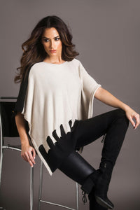 Cut out work Two tone Poncho - Mieka Boutique