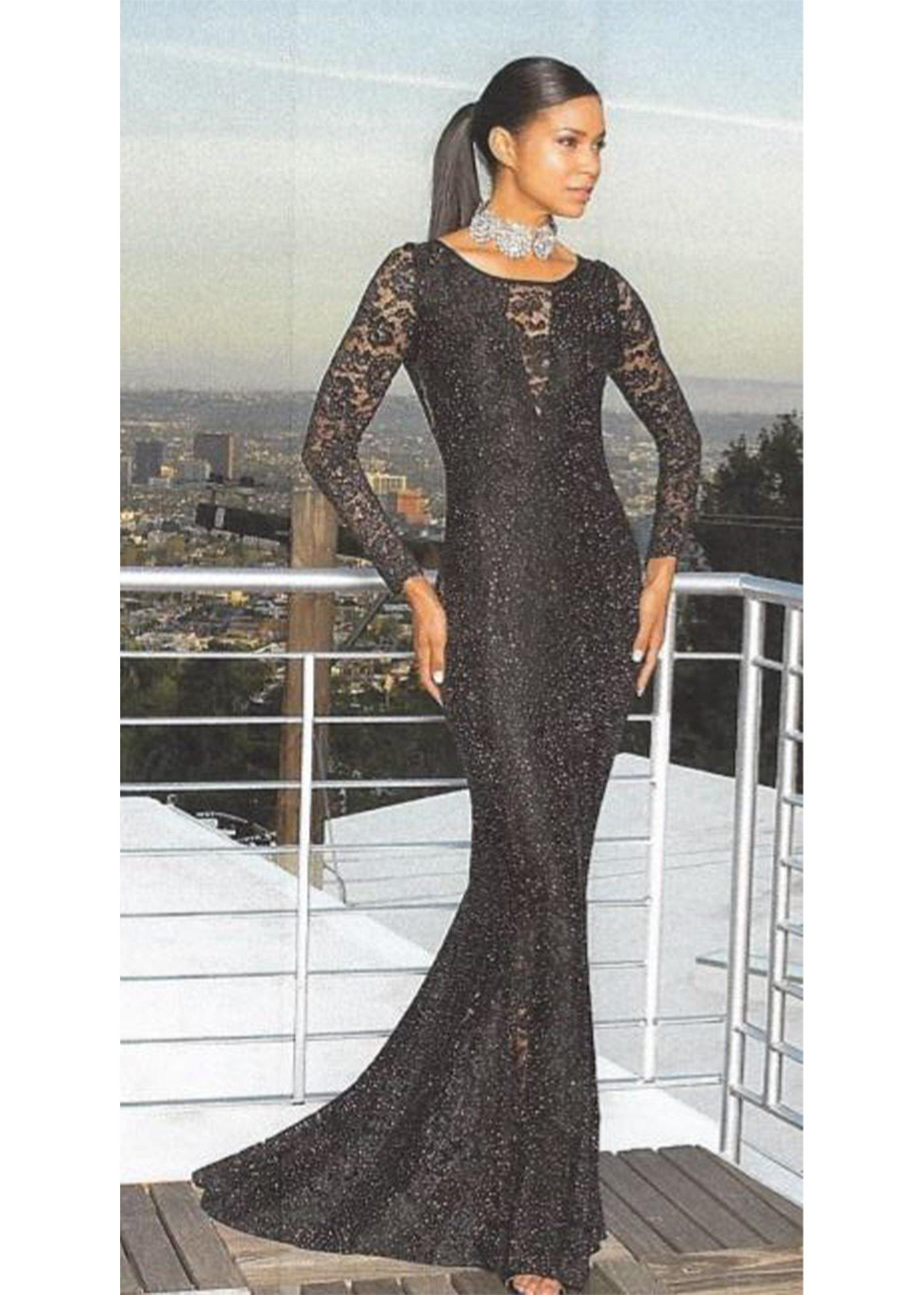 Sheer Lace Long Sleeve  Inserts Gown