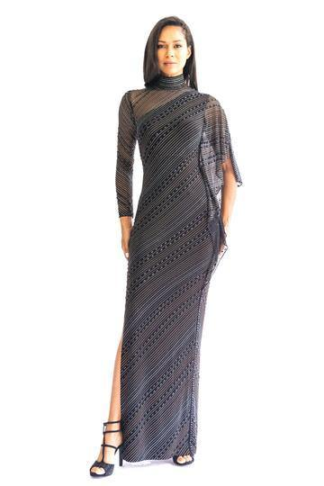 Highneck Asymmetrical Beaded Gown - Mieka Boutique