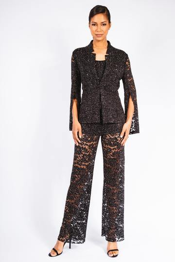 Lace Crystal Split Sleeve Jacket, Tank & Pant