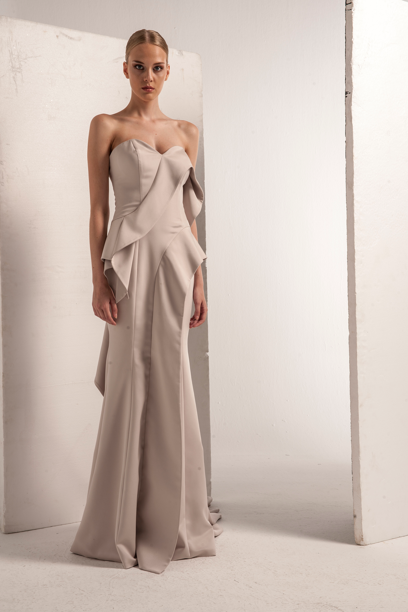 Faille Strapless Asymmetrical Gown