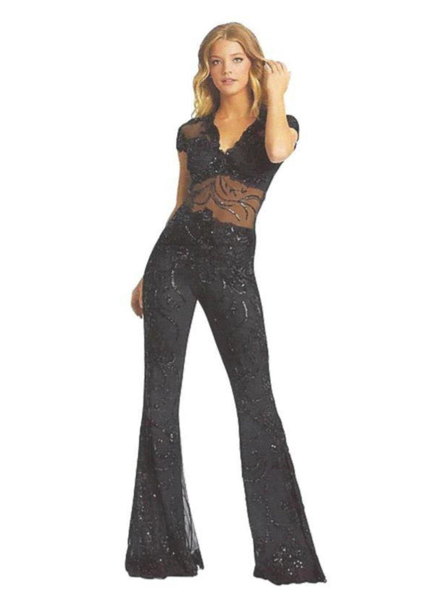 Cap Sleeve Illusion Beaded Jumpsuit
